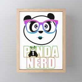 Panda Nerd Girl - Rainbow Framed Mini Art Print