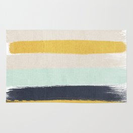 Abstract stripes hand painted brushstrokes mint grey and navy gender neutral color palette Rug