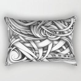 Escher Like Abstract Hand Drawn Graphite Gray Depth Rectangular Pillow