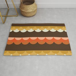 Be Still - scallop retro vintage 70s style colors 1970s throwback Rug