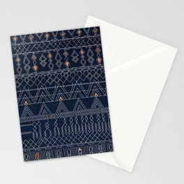 N53 - Blue Indigo Oriental Antique Traditional Moroccan Style Artwork Stationery Cards