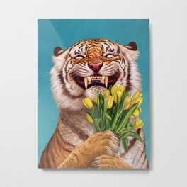 Smiling (shy) Tiger - holding bouquet (tulip) Metal Print