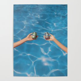 Beer at the pool Poster