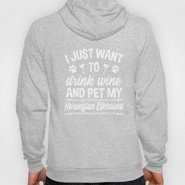 Norwegian Elkhound Shirt Funny Wine Dog Owner Gift Hoody