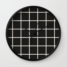 Simple black and white grid   Wall Clock