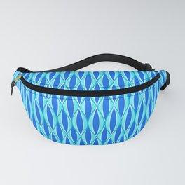 Mid-Century Ribbon Print, Shades of Blue and Aqua Fanny Pack