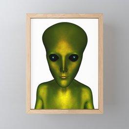 Alien Head and Shoulders Green Scaled Creature Framed Mini Art Print
