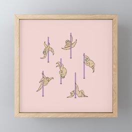 Sloths Pole Dancing Club Framed Mini Art Print