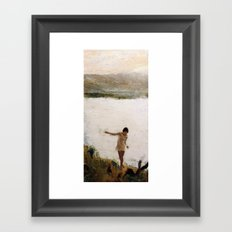 Lake and Girl Framed Art Print