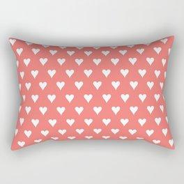 Coral White Hearts Pattern Rectangular Pillow