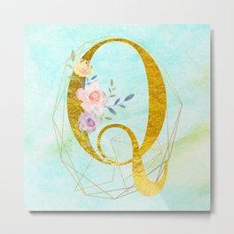 Gold Foil Alphabet Letter Q Initials Monogram Frame with a Gold Geometric Wreath Metal Print