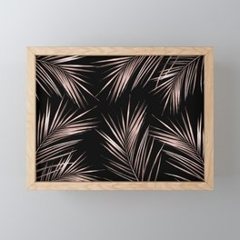 Rosegold Palm Tree Leaves on Midnight Black Framed Mini Art Print