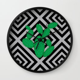 Cactus - Abstract geometric pattern - black and gray. Wall Clock