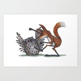 Owl & Fox dancing Art Print