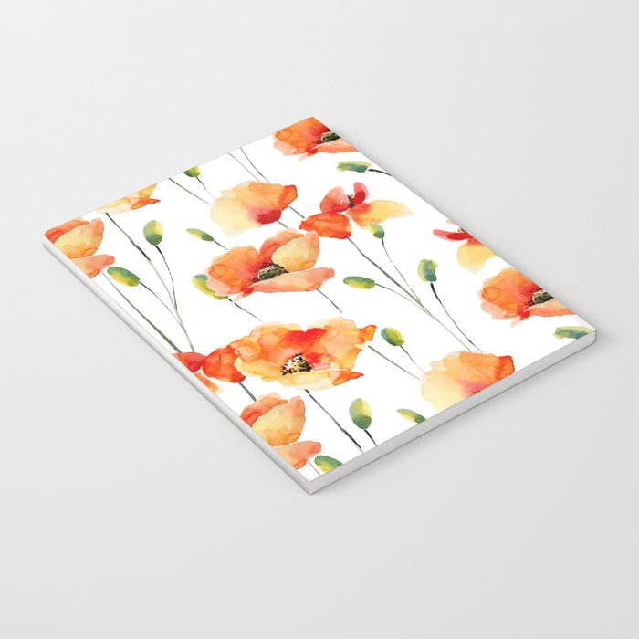 Hand Painted orange yellow watercolor poppies floral Notebook