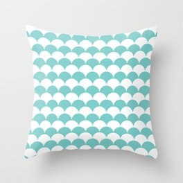 Aqua Fan Shell Pattern Throw Pillow