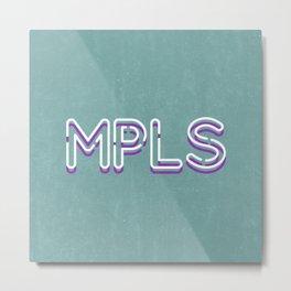 MPLS Minneapolis Minnesota Neon Typography Metal Print
