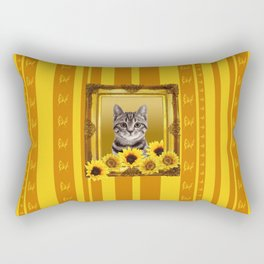 Tiger Cat yellow sunflower frame butterfly stripes Rectangular Pillow