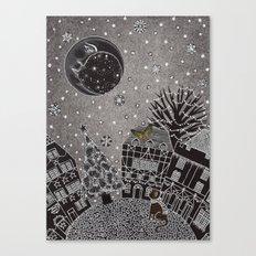 'Twas a Moonlit Winter Night Canvas Print