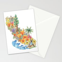 California - Floral Watercolor - State of California - West Coast Art - California Poppies - Ocean Stationery Cards