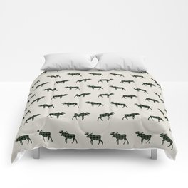 Moose Buffalo Plaid forest camping glamping outdoors forest bathing Comforters