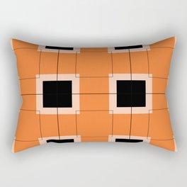 White Hairline Squares in Orange Rectangular Pillow