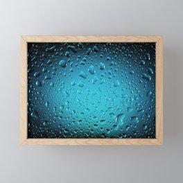 Stylish Cool Blue water drops Framed Mini Art Print