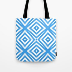 Blue and WHite Diamond Abstract Tote Bag