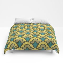Fan Pattern Yellow Teal and Olive Green 308 Comforters