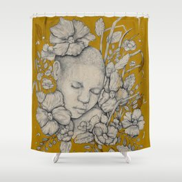 """Guardians"" - Surreal Floral Portrait Illustration Shower Curtain"