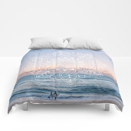 Twilight surf mandala Comforters