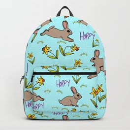 Hoppy Happy Sweet Spring Bunny Floral Design Backpack