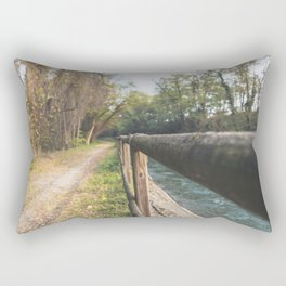 Irrigation ditch in the Ticino river natural park during winter before sunset Rectangular Pillow