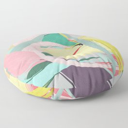 Shapes and Layers no.23 - Abstract Draper pink, green, blue, yellow Floor Pillow