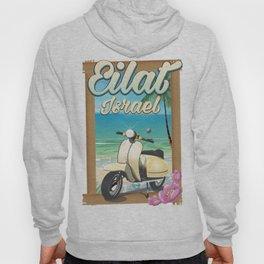 Eilat Beach Israel scooter travel poster Hoody