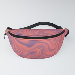 Living Coral - color of year 2019, Ultra Violet Marble Abstract Gradient Pattern Fanny Pack