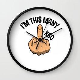 I'm This Many Sixty Years 60th Birthday Wall Clock