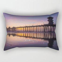 Sunset At Low Tide At The Huntington Beach Pier Rectangular Pillow
