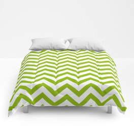 Simple Chevron Pattern - Apple Green & White - Mix & Match with Simplicity of Life Comforters