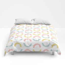 Pastel pink coral blue yellow abstract geometrical circles Comforters