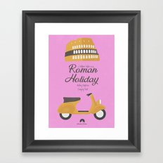 Roman Holiday, Audrey Hepburn, Gregory Peck, William Wyler, movie poster, classic film, old, cinema Framed Art Print