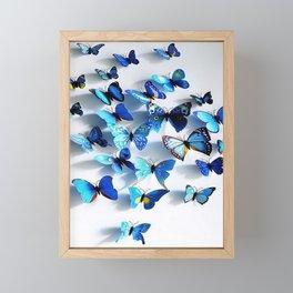 blue butterfly flutters in 3D Framed Mini Art Print
