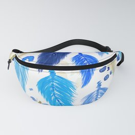 Watercolor Macrame Feathers + Dots in Blue Rainbow Fanny Pack