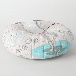 goat yoga, gray white aqua turquoise red Floor Pillow