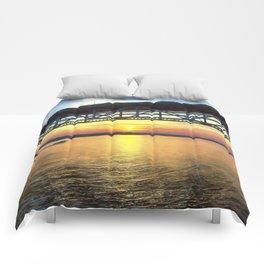 Sunset Under the Coleman Bridge Comforters