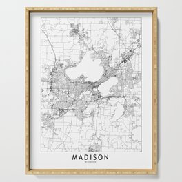 Madison White Map Serving Tray