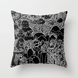 Oodles of Doodles of Singapore (Black) Throw Pillow