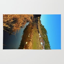 A river, the valley and traditional farmland | waterscape photography Rug