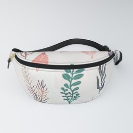 Mix of plants and watercolor leaves Fanny Pack