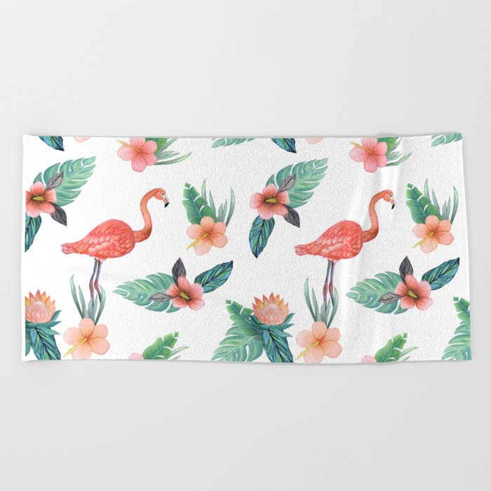 Flamingo Coral Exotic Floral with palms , hibiscus and protea Beach Towel